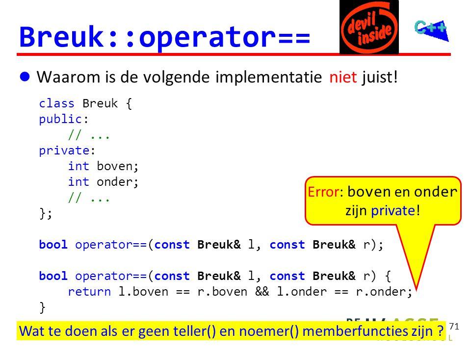 Breuk::operator== Friend! class Breuk { public: // ... private: