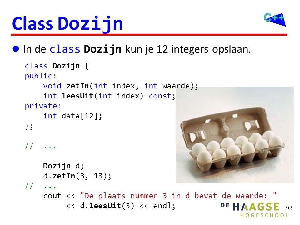 Class Dozijn void Dozijn::zetIn(int index, int waarde) {