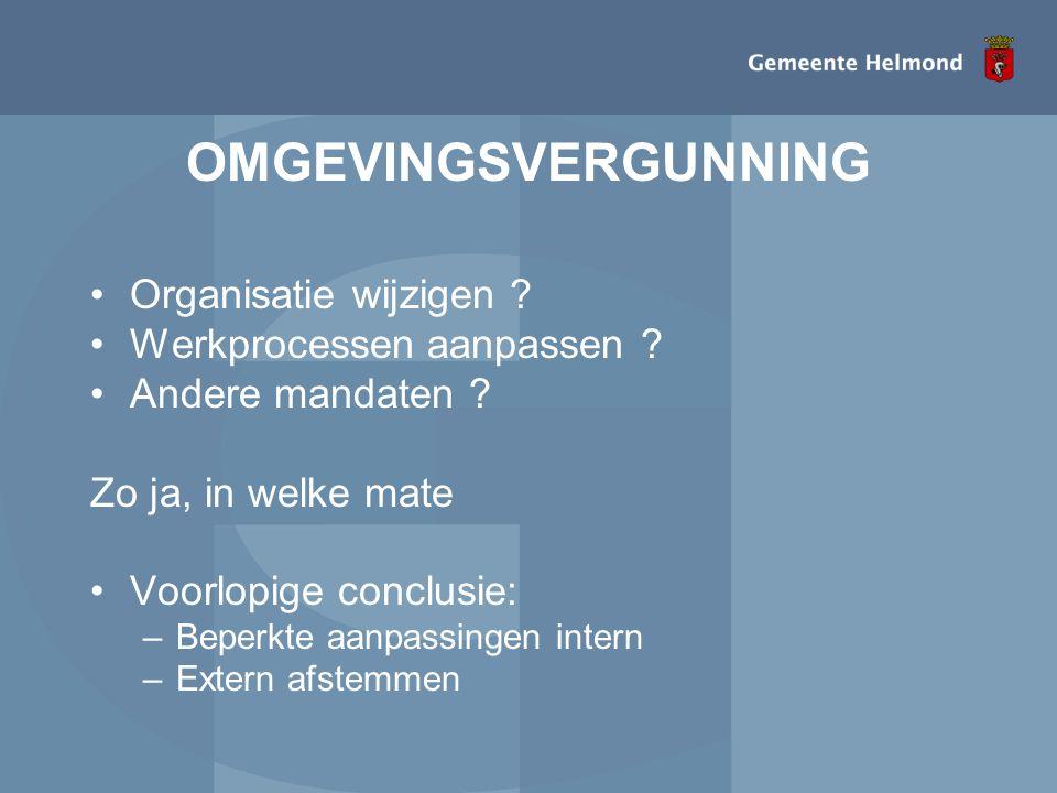 OMGEVINGSVERGUNNING Organisatie wijzigen Werkprocessen aanpassen