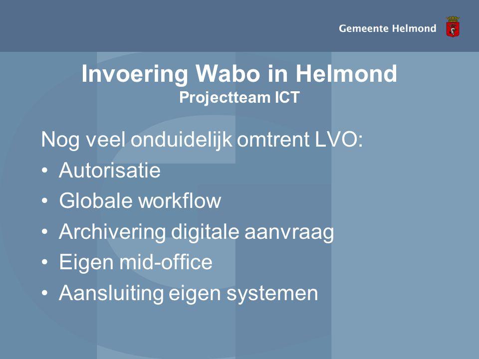 Invoering Wabo in Helmond Projectteam ICT
