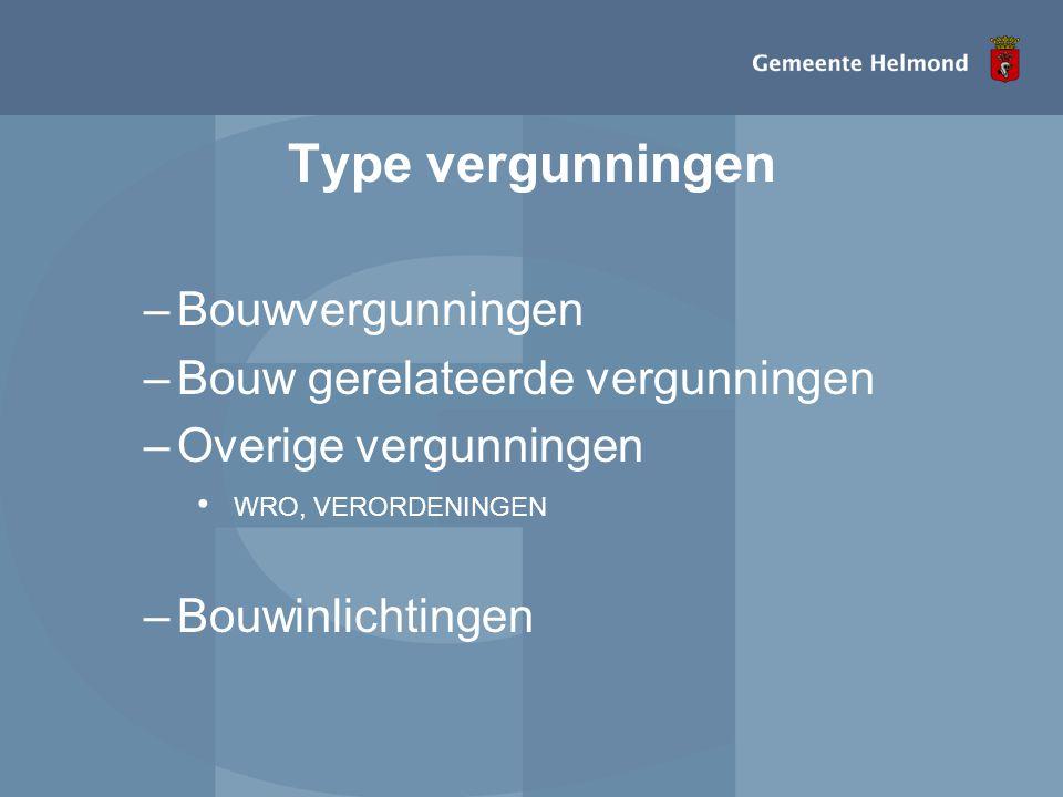 Type vergunningen Bouwvergunningen Bouw gerelateerde vergunningen