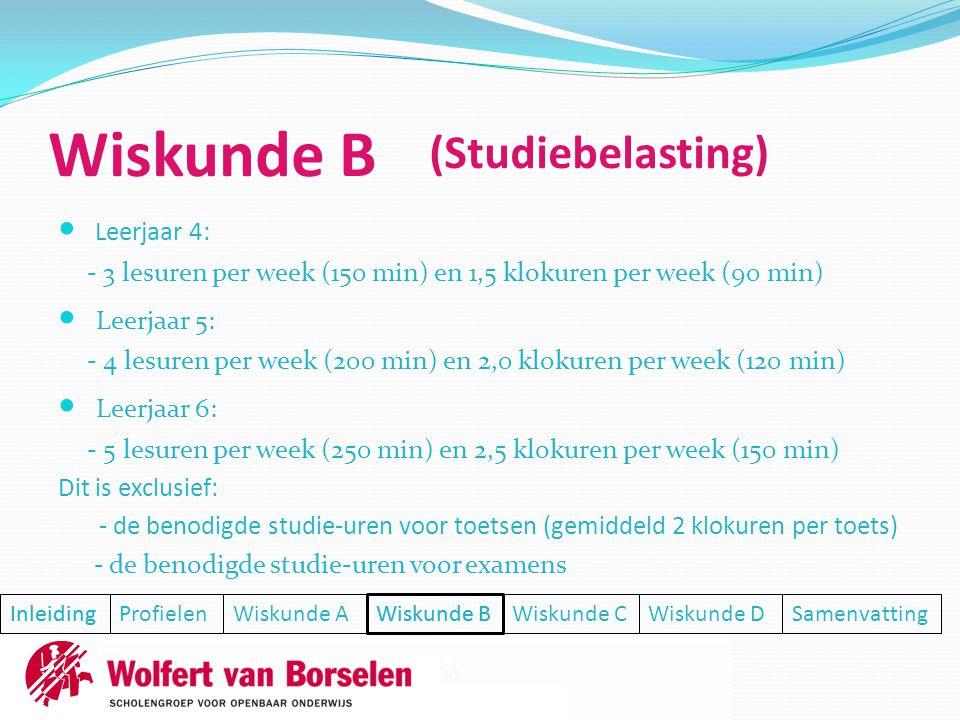 Wiskunde B (Studiebelasting) Leerjaar 4: Leerjaar 5: Leerjaar 6: