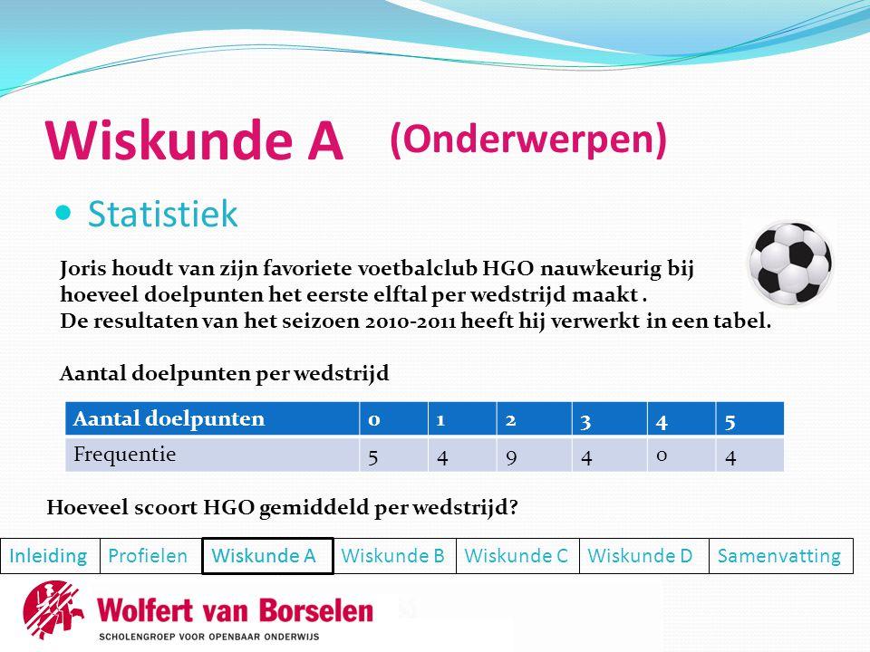 Wiskunde A (Onderwerpen) Statistiek