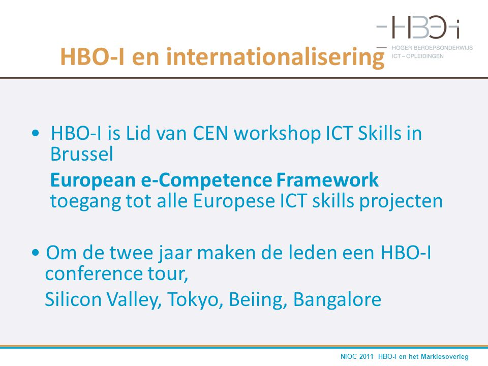 HBO-I en internationalisering