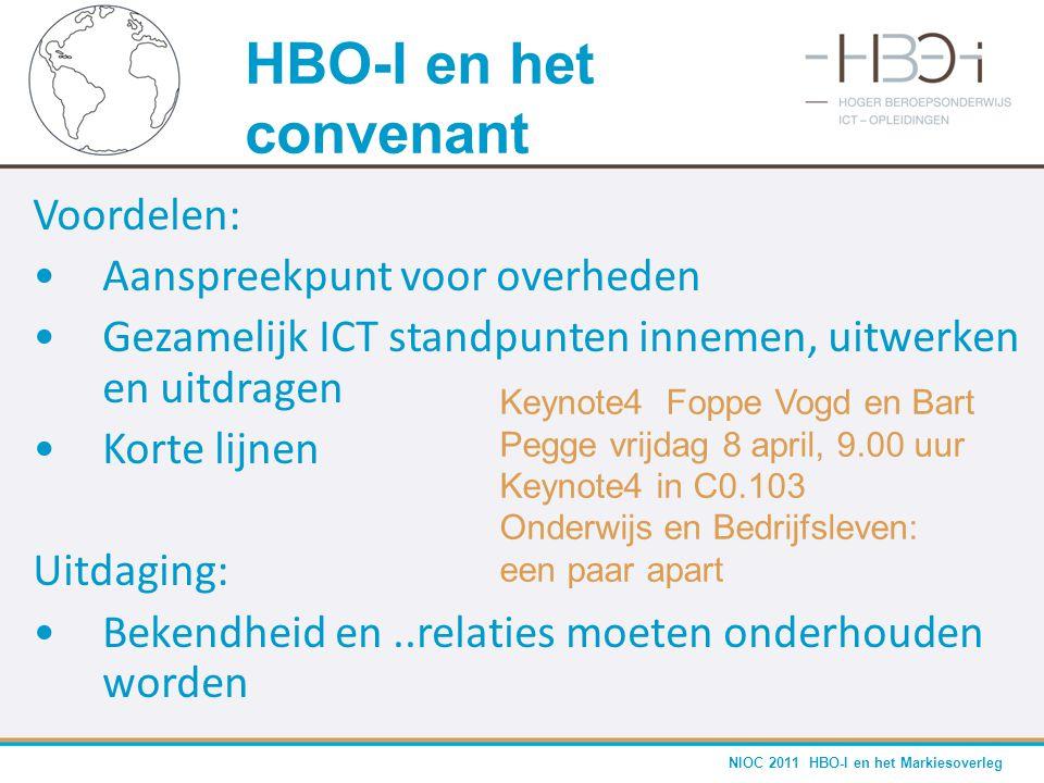 HBO-I en het convenant Voordelen: Aanspreekpunt voor overheden