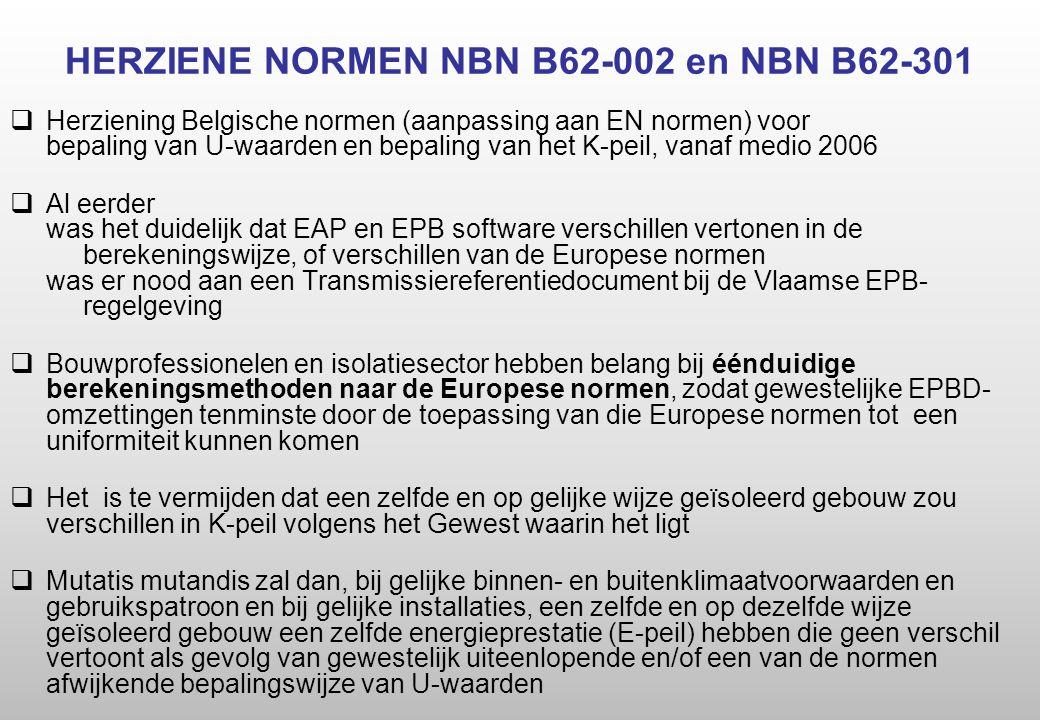 HERZIENE NORMEN NBN B62-002 en NBN B62-301