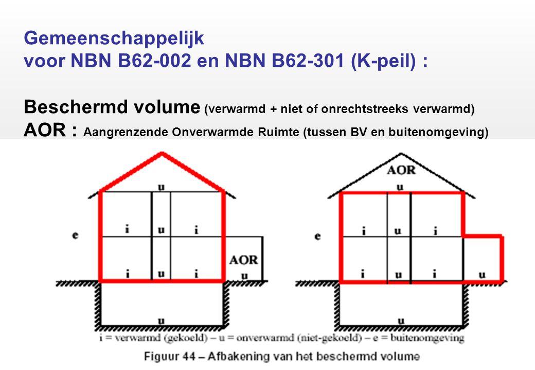 Gemeenschappelijk voor NBN B62-002 en NBN B62-301 (K-peil) : Beschermd volume (verwarmd + niet of onrechtstreeks verwarmd) AOR : Aangrenzende Onverwarmde Ruimte (tussen BV en buitenomgeving)