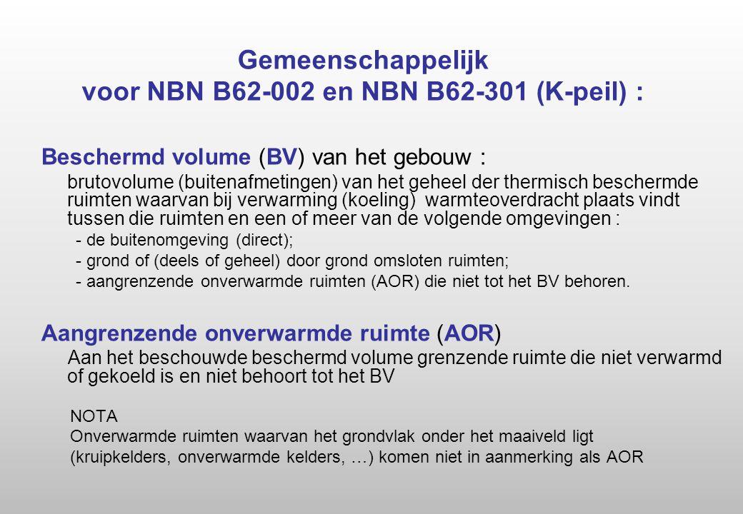 Gemeenschappelijk voor NBN B62-002 en NBN B62-301 (K-peil) :