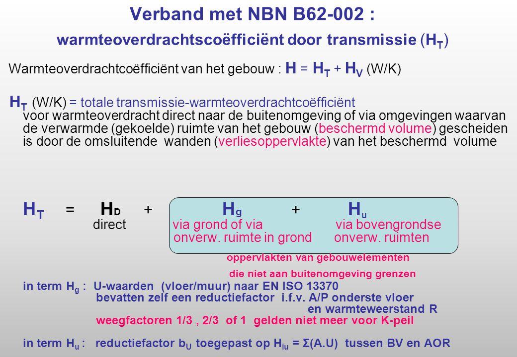 Verband met NBN B62-002 : warmteoverdrachtscoëfficiënt door transmissie (HT)