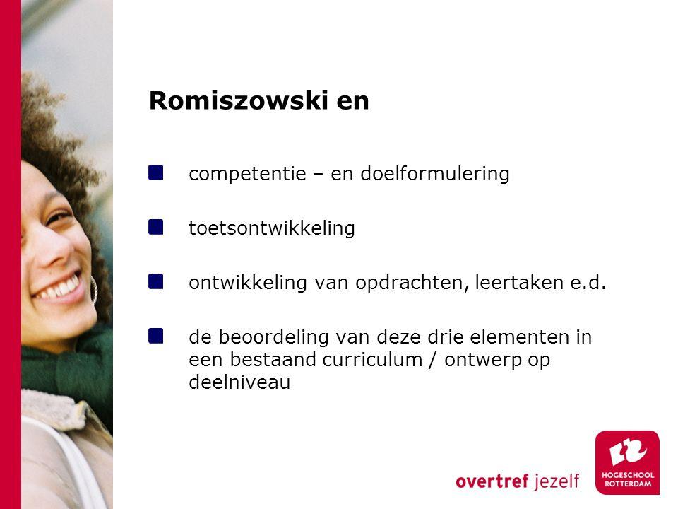 Romiszowski en competentie – en doelformulering toetsontwikkeling