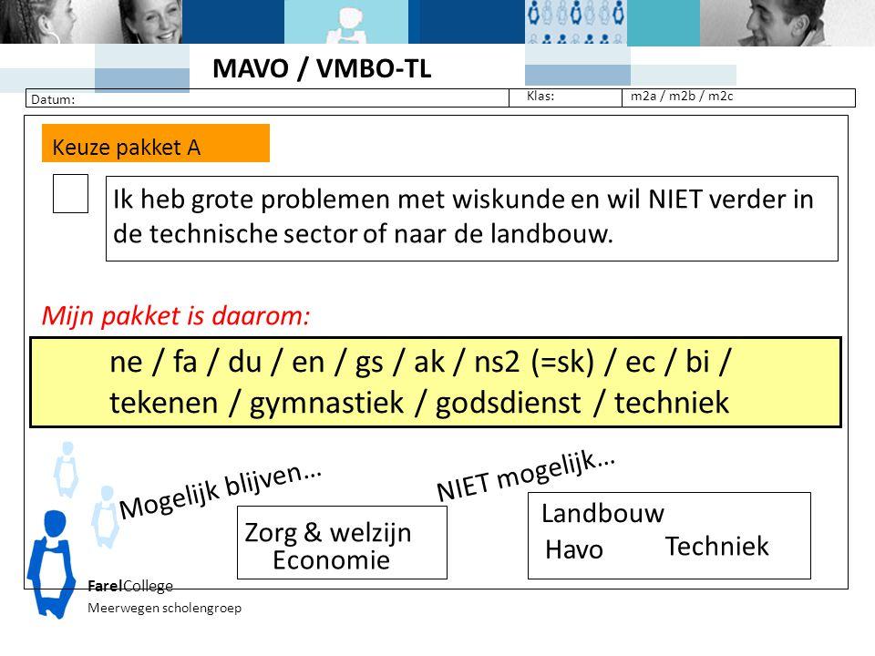 MAVO / VMBO-TL. Datum: Klas: m2a / m2b / m2c. Keuze pakket A.