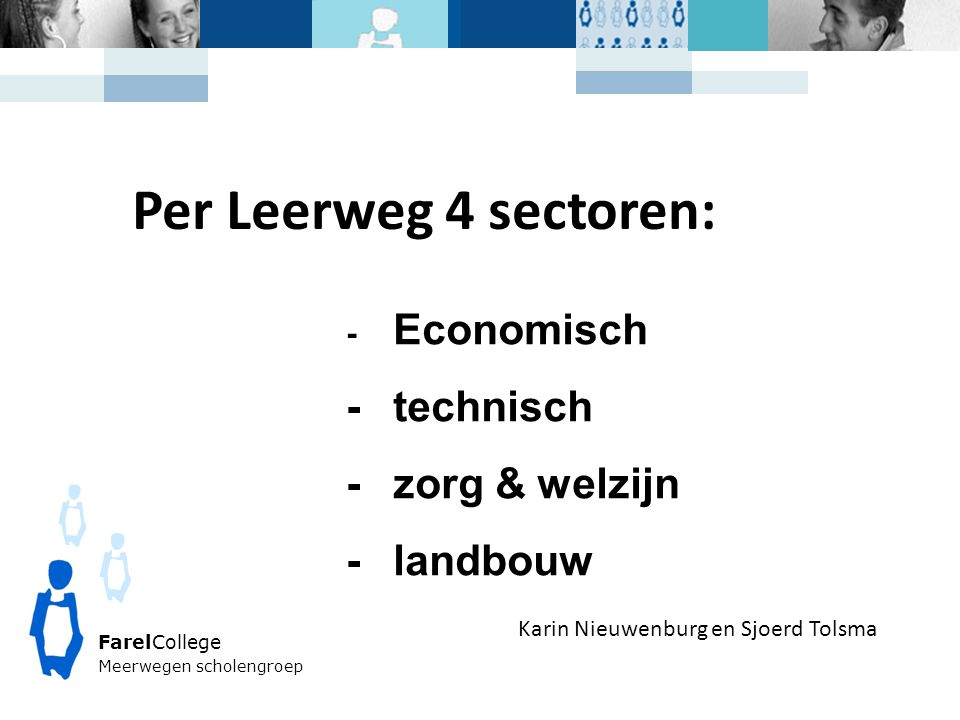 Per Leerweg 4 sectoren: - technisch - zorg & welzijn - landbouw