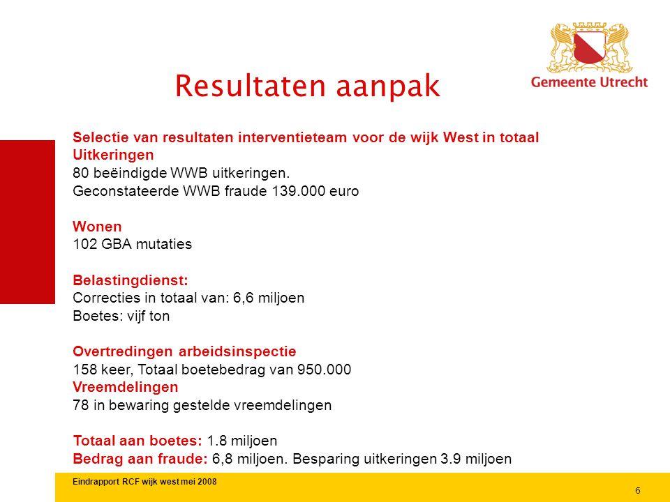 Resultaten aanpak Selectie van resultaten interventieteam voor de wijk West in totaal. Uitkeringen.