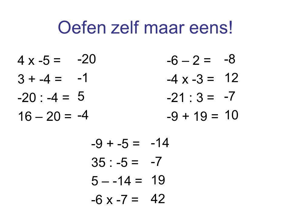 Oefen zelf maar eens! 4 x -5 = 3 + -4 = -20 : -4 = 16 – 20 = -20 -1 5