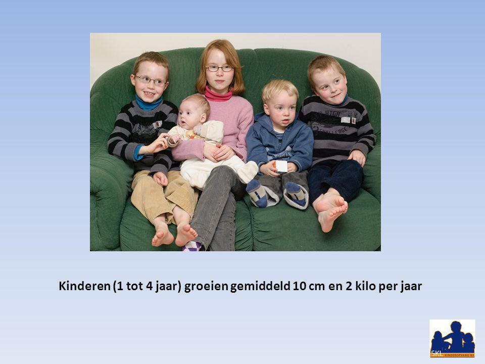 Kinderen (1 tot 4 jaar) groeien gemiddeld 10 cm en 2 kilo per jaar