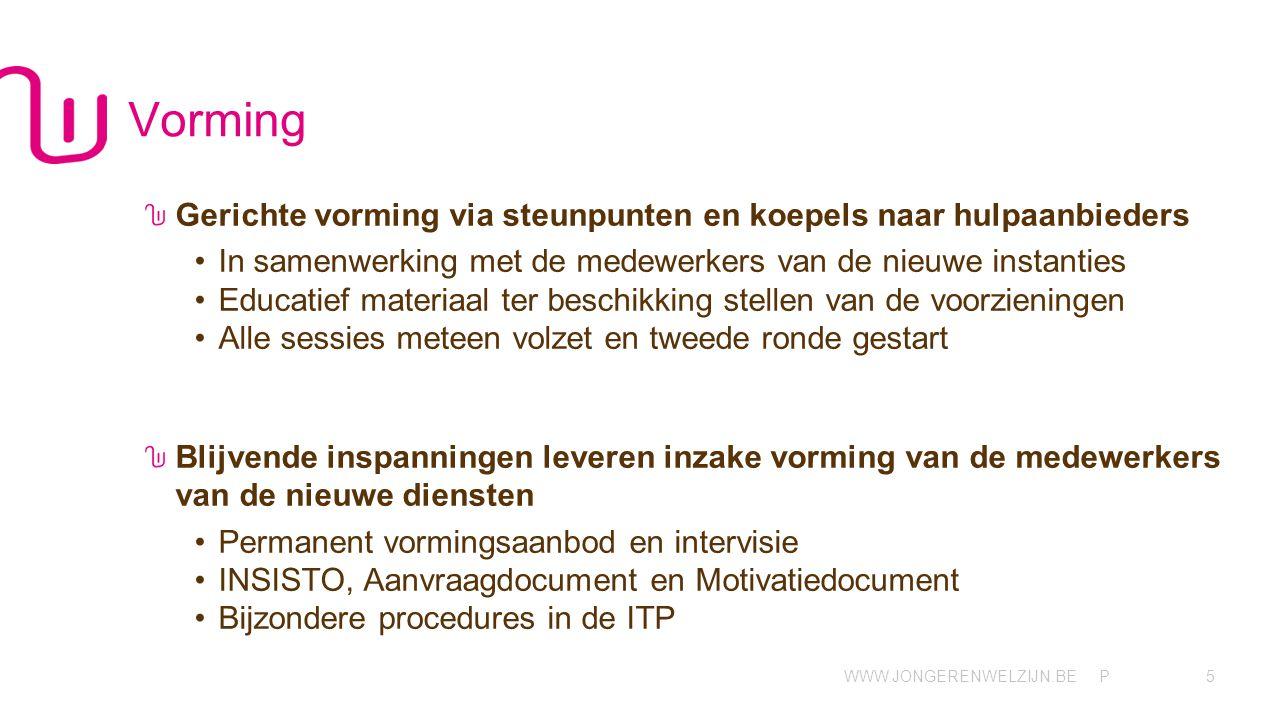 Vorming Gerichte vorming via steunpunten en koepels naar hulpaanbieders. In samenwerking met de medewerkers van de nieuwe instanties.