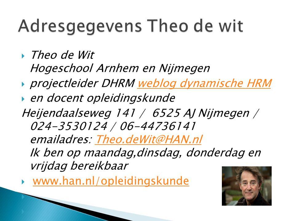 Adresgegevens Theo de wit