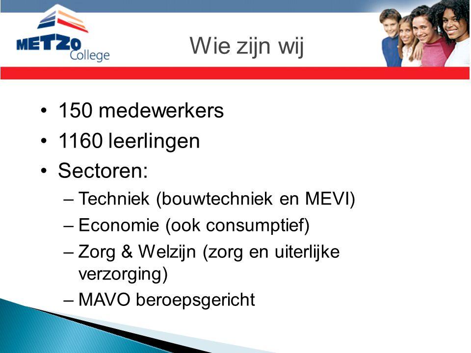 Wie zijn wij 150 medewerkers 1160 leerlingen Sectoren: