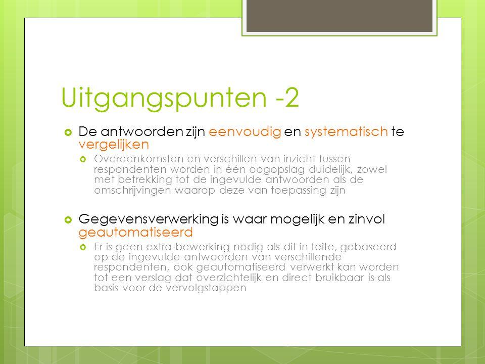 Uitgangspunten -2 De antwoorden zijn eenvoudig en systematisch te vergelijken.