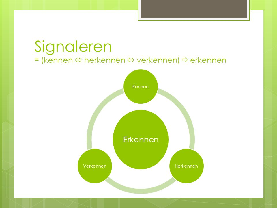Signaleren = (kennen  herkennen  verkennen)  erkennen