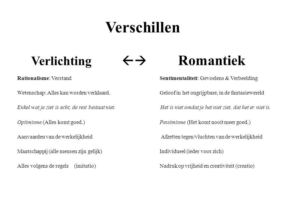 Verschillen Verlichting  Romantiek