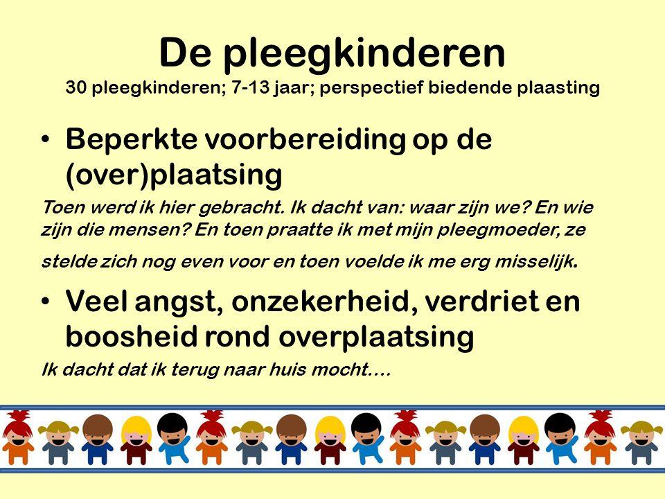 De pleegkinderen 30 pleegkinderen; 7-13 jaar; perspectief biedende plaasting