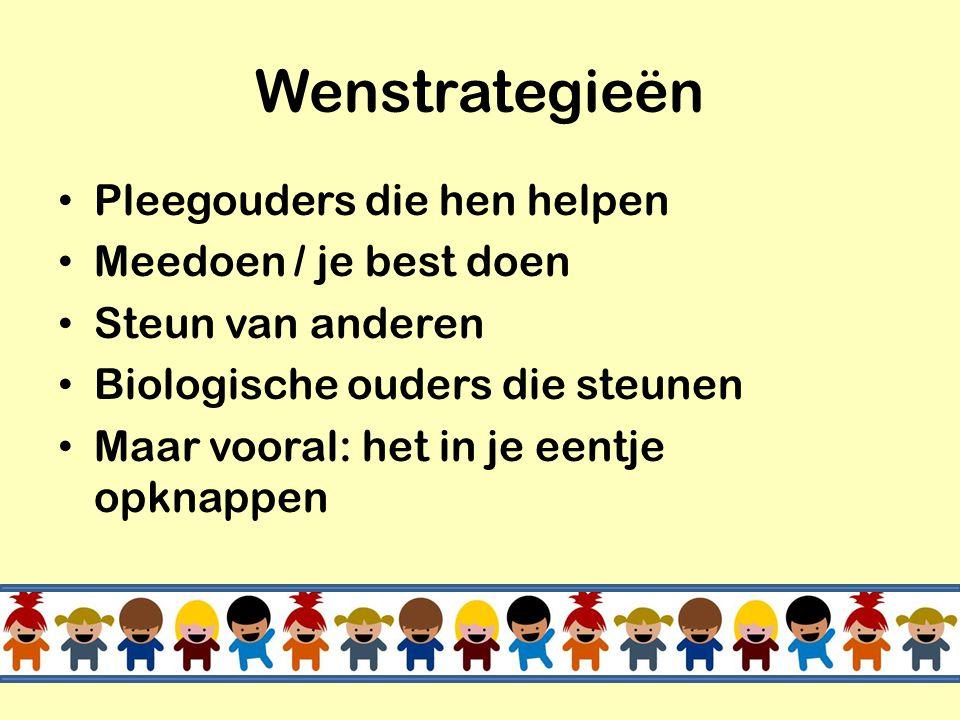 Wenstrategieën Pleegouders die hen helpen Meedoen / je best doen