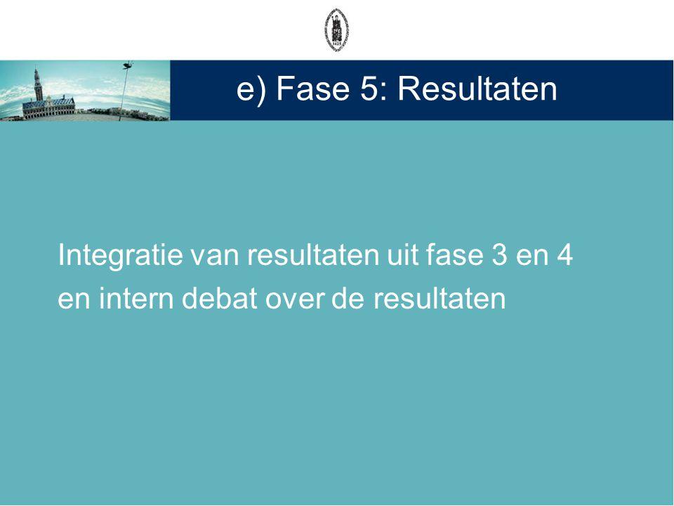 e) Fase 5: Resultaten Integratie van resultaten uit fase 3 en 4