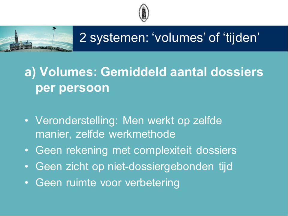 2 systemen: 'volumes' of 'tijden'