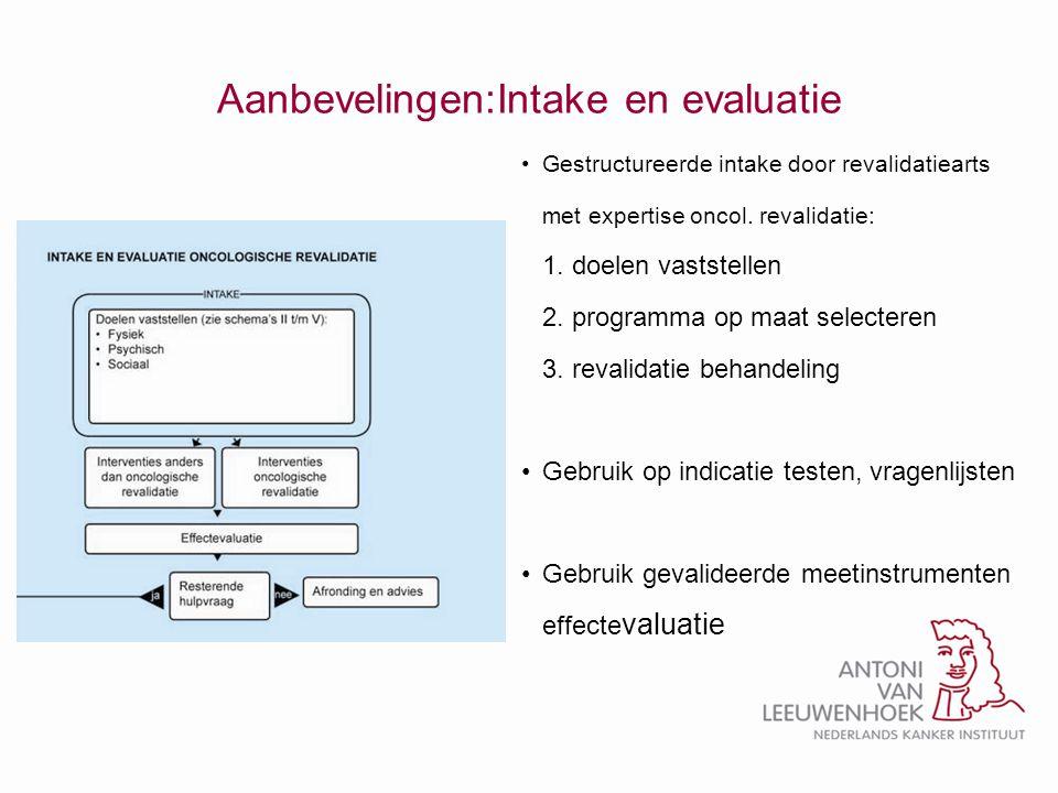 Aanbevelingen:Intake en evaluatie