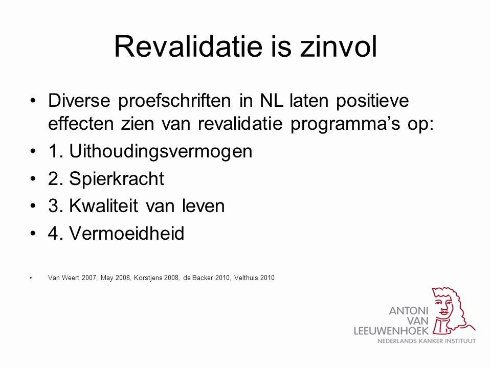Revalidatie is zinvol Diverse proefschriften in NL laten positieve effecten zien van revalidatie programma's op: