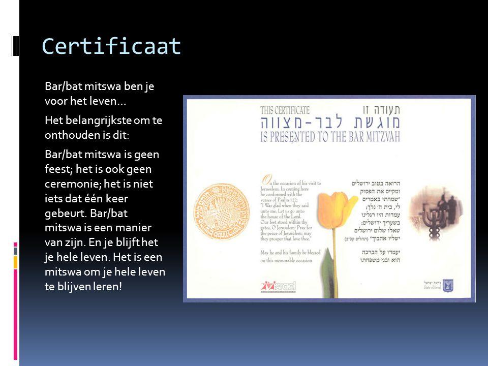 Certificaat Bar/bat mitswa ben je voor het leven…