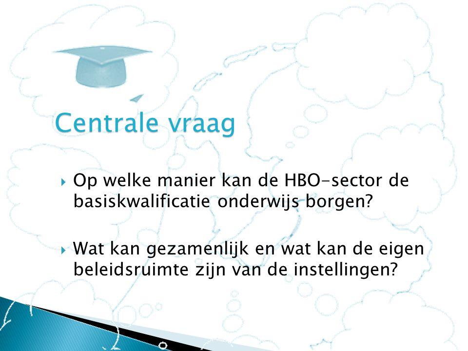 Centrale vraag Op welke manier kan de HBO-sector de basiskwalificatie onderwijs borgen