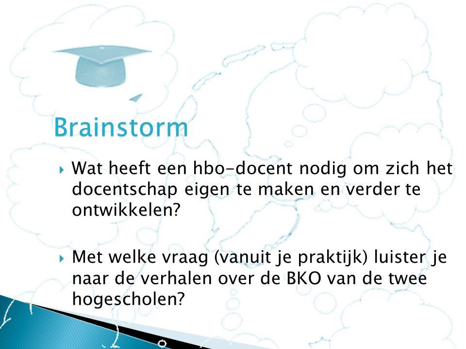 Brainstorm Wat heeft een hbo-docent nodig om zich het docentschap eigen te maken en verder te ontwikkelen