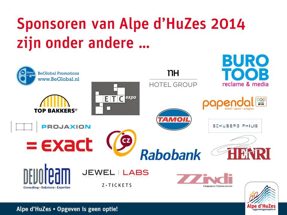 Sponsoren van Alpe d'HuZes 2014 zijn onder andere …
