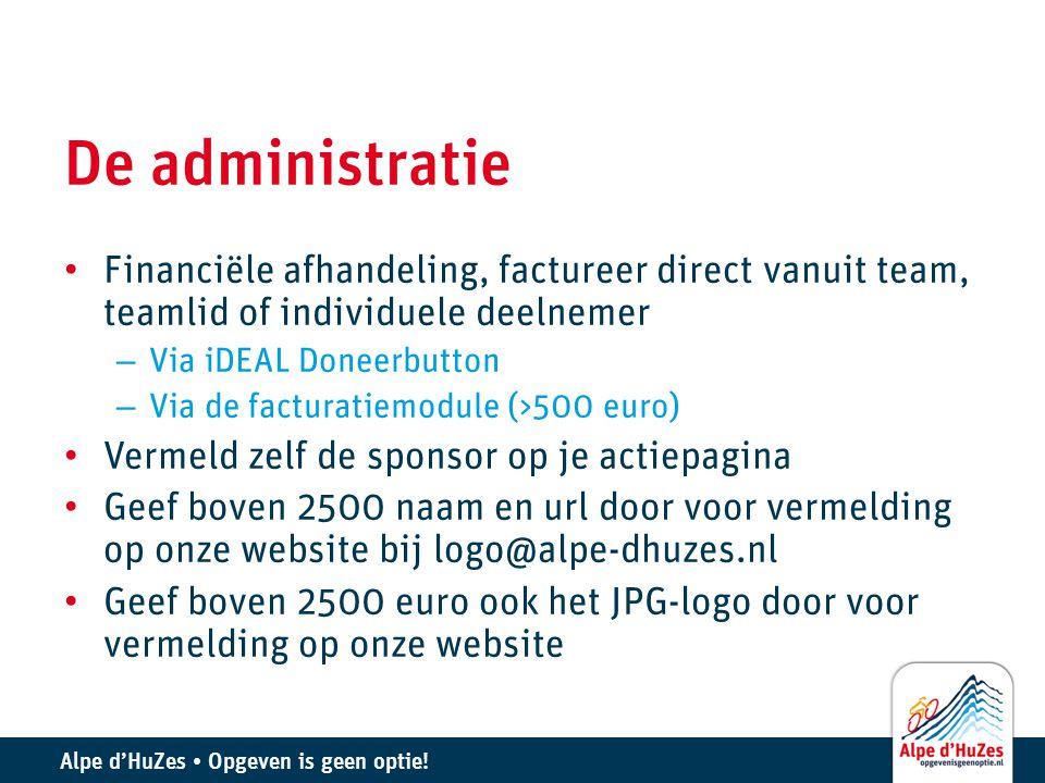 De administratie Financiële afhandeling, factureer direct vanuit team, teamlid of individuele deelnemer.