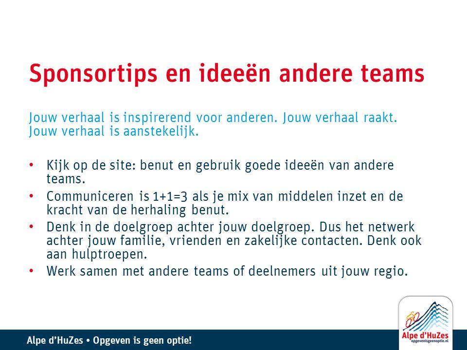 Sponsortips en ideeën andere teams