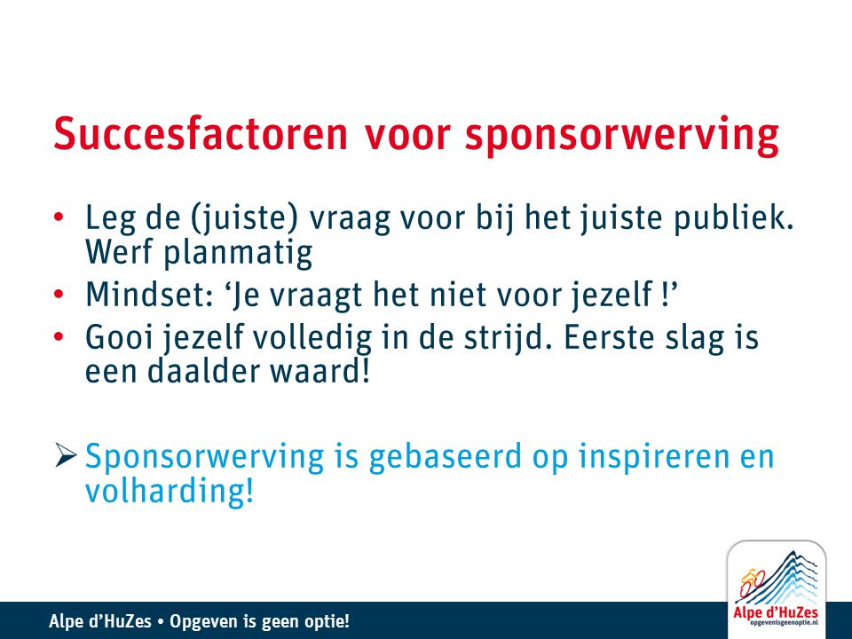 Succesfactoren voor sponsorwerving