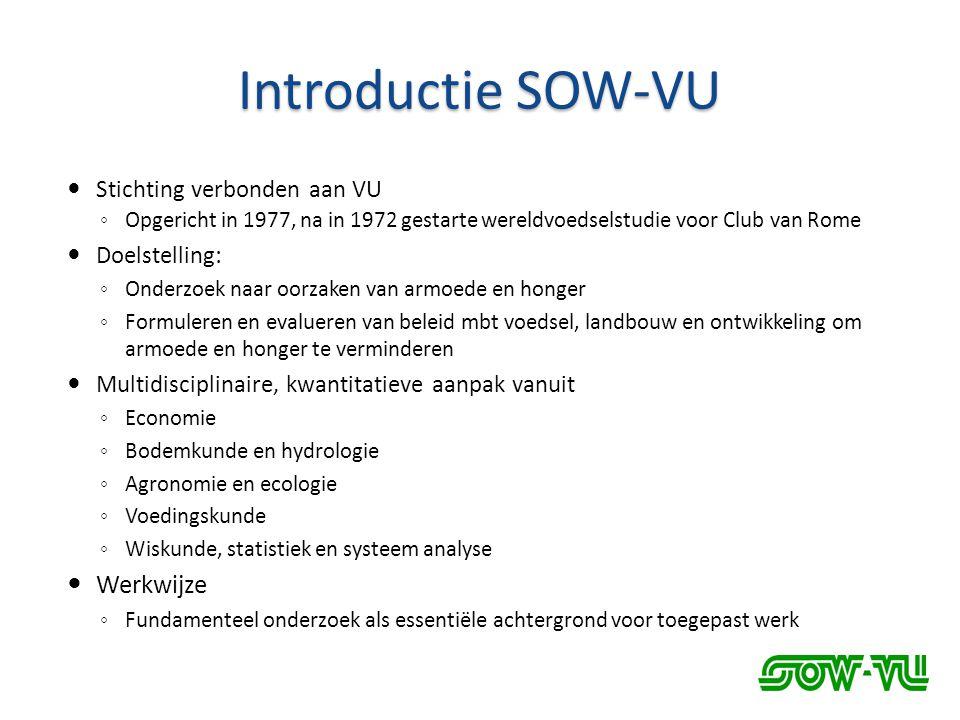 Introductie SOW-VU Werkwijze Stichting verbonden aan VU Doelstelling: