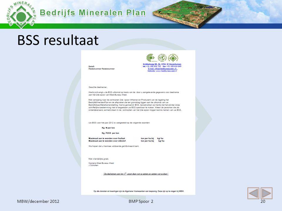 BSS resultaat MBW/december 2012 BMP Spoor 2
