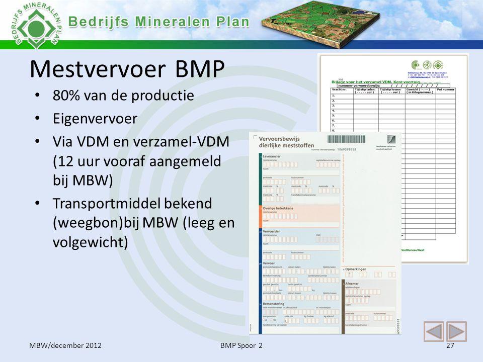 Mestvervoer BMP 80% van de productie Eigenvervoer