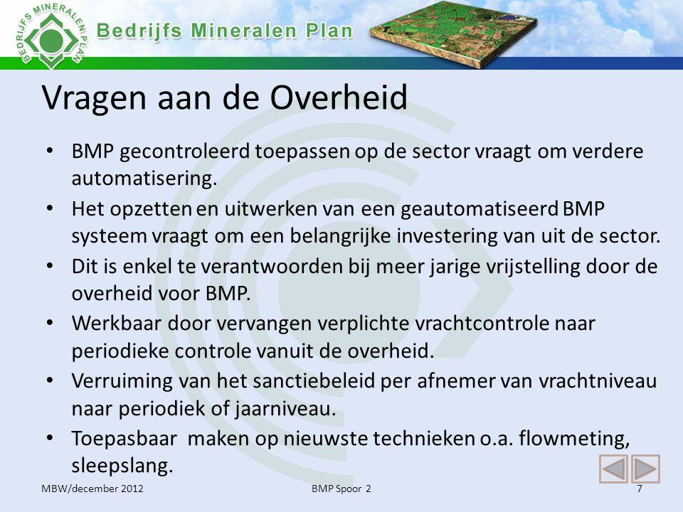 Vragen aan de Overheid BMP gecontroleerd toepassen op de sector vraagt om verdere automatisering.