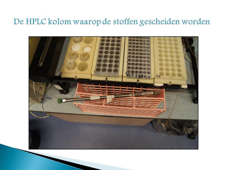 De HPLC kolom waarop de stoffen gescheiden worden