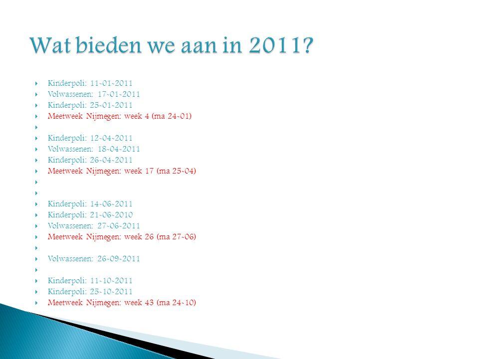 Wat bieden we aan in 2011 Kinderpoli: 11-01-2011