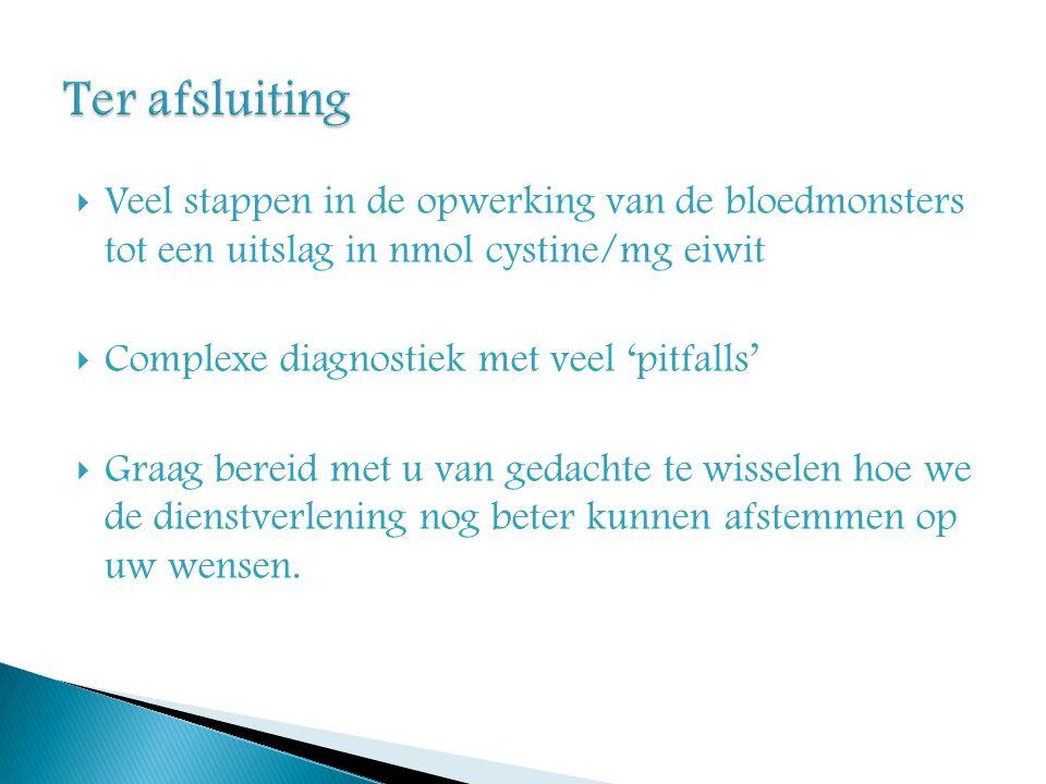 Ter afsluiting Veel stappen in de opwerking van de bloedmonsters tot een uitslag in nmol cystine/mg eiwit.