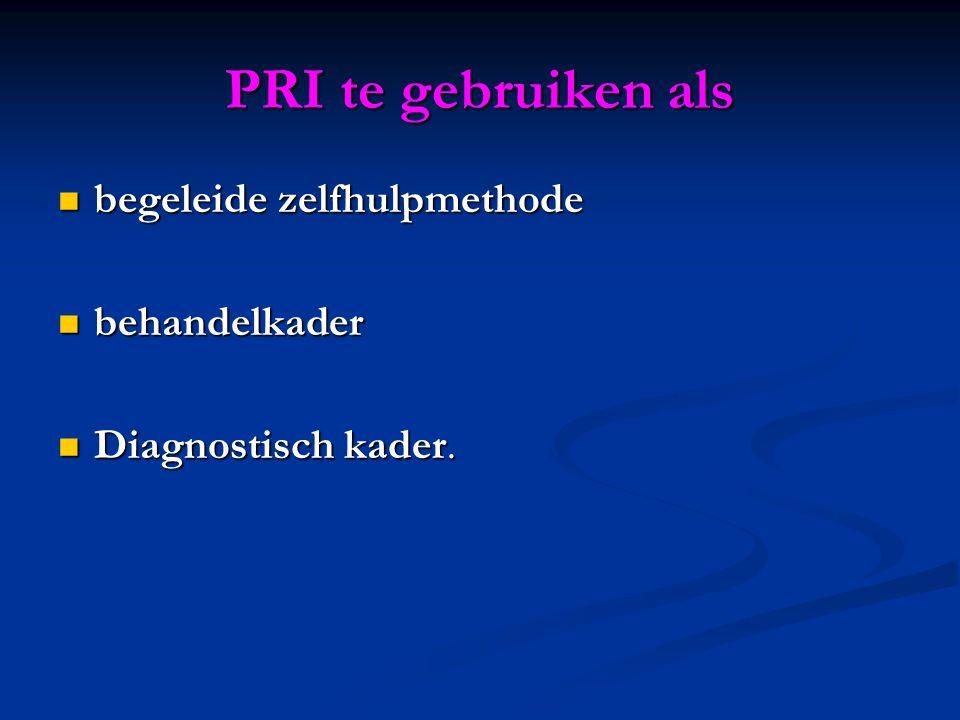PRI te gebruiken als begeleide zelfhulpmethode behandelkader