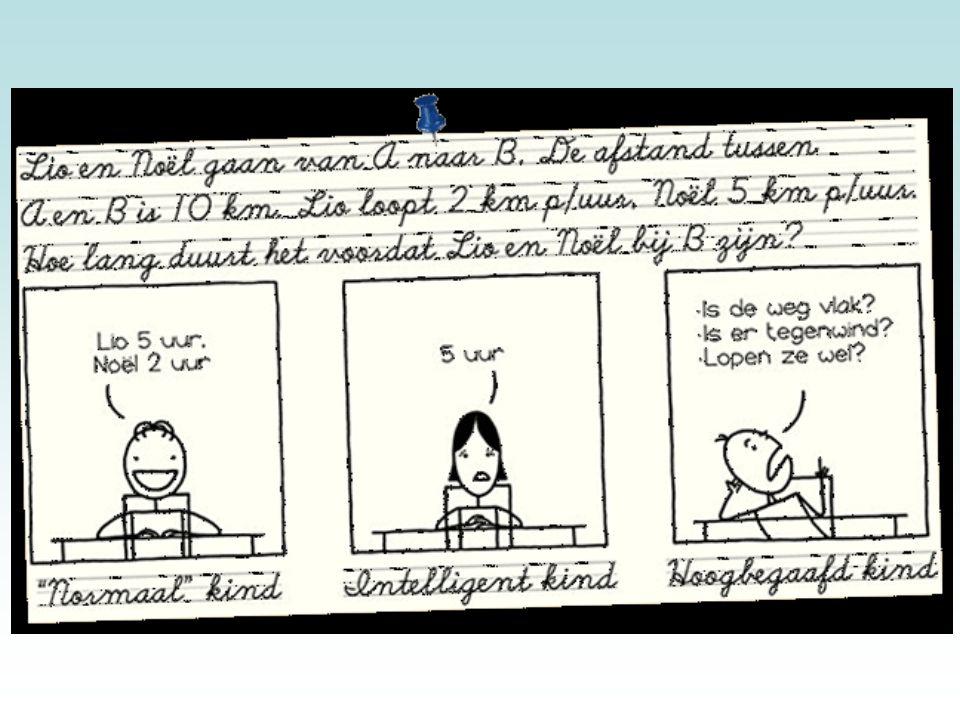 In deze cartoon is nog eens aangegeven dat de manier van denken bij hoogbegaafde kinderen anders is.