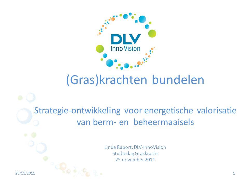 (Gras)krachten bundelen Strategie-ontwikkeling voor energetische valorisatie van berm- en beheermaaisels Linde Raport, DLV-InnoVision Studiedag Graskracht 25 november 2011