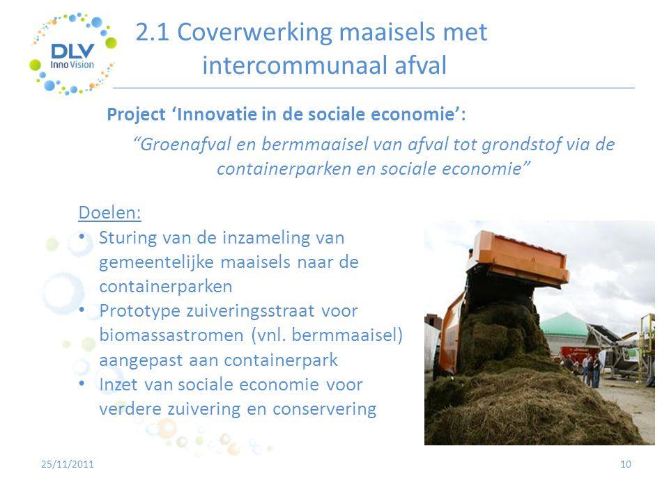 2.1 Coverwerking maaisels met intercommunaal afval