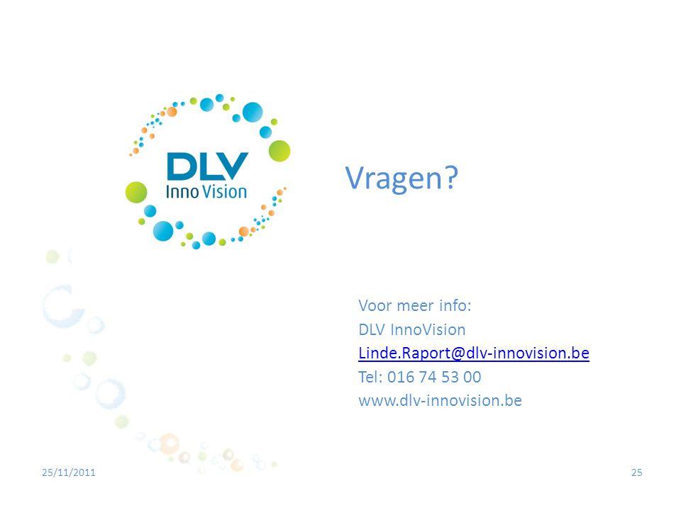 Vragen Voor meer info: DLV InnoVision Linde.Raport@dlv-innovision.be